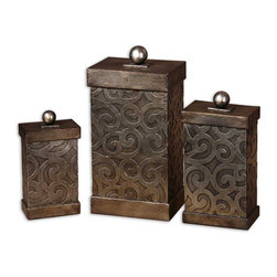 Uttermost - Nera Metal Decorative Boxes, Set of 3 - Hand Forged And Hand Embossed Metal Finished In Antiqued Silver Leaf. Removable Lids. Sm-5x9x3, Med-6x11x4, Lg-7x15x5