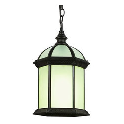 Trans Globe Lighting - Trans Globe Lighting 4183 Single Light Energy Efficient Outdoor Pendant - Single light energy efficient outdoor pendant featuring beveled / frost glassRequires 1 14w GU24 Bulb (Not Included)