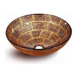Flotera - Brick Designed Tempered Glass Bathroom Metallic Bronze Color Vessel Sink - Space: Vessel sinks often offer a smaller surface area, allowing you to have more counter-top space.