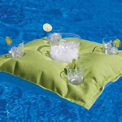 Home Decorators Collection - Pillowtop Pool Cocktail Caddy - Socialize with family and friends in the pool, ocean or lake with this convenient Pool Cocktail Caddy made to accommodate four cocktail glasses with an ice bucket in the center. Keeps your drinks refreshingly cool and attaches to any lounge float to keep your libations close by. Made with fade-proof Sunbrella Marine Fabric for lots of outdoor enjoyment. Order yours today. Stain resistant, mold/mildew resistant, worry free. Your choice of a wide range of colors.