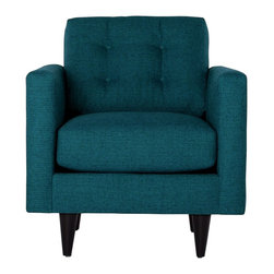 Apt2B - The Logan Chair, Chicago Blue - Add a bit of vintage glamour to your space with the Logan. Sleek wood legs and button tufted back cushions take this modern shape to an elevated level. The ultimate show piece for your stylish room. Each piece is expertly handmade to order in the USA and takes around 2-3 weeks in production. Features a solid hardwood frame and upholstered in a textured poly-blend fabric.