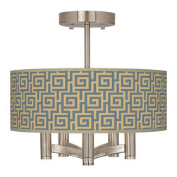 "Giclee Glow - Asian Greek Key Storm Ava 5-Light Nickel Ceiling Light - Brushed nickel finish. Greek Key Storm pattern printed shade. Semi-flushmount design. Five 60 watt candelabra bulbs (not included). 14"" wide. 13 1/2"" high. Shade only is 14"" wide 5"" high. Canopy is 5"" wide.   Brushed nickel finish.  Greek Key Storm pattern printed shade.  Semi-flushmount design.  Five 60 watt candelabra bulbs (not included).  14"" wide.   13 1/2"" high.   Shade only is 14"" wide 5"" high.   Canopy is 5"" wide."