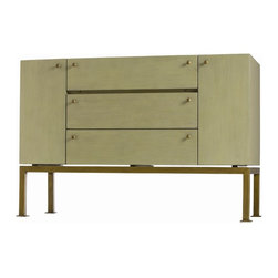 Arteriors - Gunther Console - This uniquely sized console with a narrow drop front, two doors and two drawers is finished in a beautiful light sage green hand painted lacquer finish on all sides, making it the perfect candidate to float between two chairs.