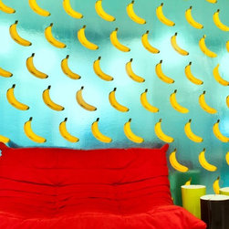 B-A-N-A-N-A-S! Wallpaper, Scented Cyan on Chrome - Yes, these are bananas! How fun is that? OK, maybe one wall of it would do, but it would certainly add a lot of zing to the decor.
