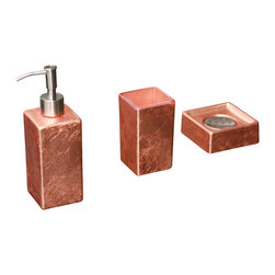 MaestroBath - Luxury Modern Bathroom Set, Copper Leaf - This Luxury Bathroom Set is Available in Gold Leaf,Silver Leaf and Copper Leaf Colors. Luxury bathroom accessory is a great addition to any bathroom. This contemporary bathroom set includes a lotion dispenser (liquid soap dispenser), a soap dish and a tumbler.