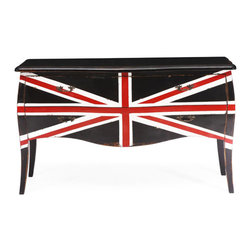 Union Jack Cabinet - The Union Jack design makes this otherwise traditional cabinet a stunner. Place it in a quiet corner that needs a bit of volume and storage space or make it the statement centerpiece in the living room. Made from solid elm wood, the two-drawer cabinet with antique metal pulls brings the cool back into modern Britannia style.