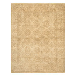 """Loloi Rugs - Loloi Rugs Vernon Collection - Ivory / Ivory, 2'-0"""" x 3'-0"""" - The hand-knotted Vernon Collection is at once sophisticated and trendy. Made in India of 100-percent fine wool, Vernon's traditional designs are inspired by Turkish Oushaks. Note the meticulous antique finishing, which gives each rug in the collection a distinctive, Old-World patina. Vernon takes traditional rug fashions up a notch."""