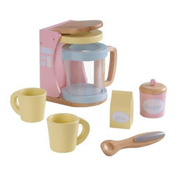KidKraft - Pastel Coffee Set by Kidkraft - Kids may not be old enough for coffee quite yet, but they will love our new Pastel Coffee Set. This wooden 7-piece set is perfect for young children who like to act just like mom and dad.