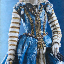 Isabelle de Borchgrave Isabelle de Médicis Street Banner Wall Art - From the de Young museum an authentic, limited edition street banner to display in your home as spectacular wall art. Painting on simple rag paper that she skillfully crumples, braids, pleats, and feathers to mimic fine silk and other textiles, Isabelle de Borchgrave creates exquisite historic costumes and contemporary couture. The Legion of Honor exhibition, Pulp Fashion: The Art of Isabelle de Borchgrave, was the first U.S. retrospective of her work, including dresses inspired by 16th century Renaissance paintings of Eleonora de Toledo and Isabelle de Médici.