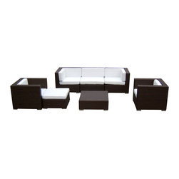 MangoHome - Outdoor Patio Sofa Sectional Wicker Furniture 7pc Resin Couch Set - Outdoor Patio Sofa Sectional Wicker Furniture 7pc Resin Couch Set