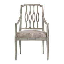 Stanley Furniture - Charleston Regency Cooper Dining Arm Chair - Gray Linen Finish - The elliptical silhouette of the Cooper Dining Arm Chair�۪s pierced back splat is at home in transitional and traditional environs alike. Made to order in America.