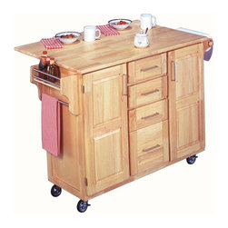 HomeStyles - Breakfast Bar Kitchen Cart - Four easy open center storage drawers on metal glides. Drop-down breakfast bar. Two storage cabinets with raised panel doors. Built-in spice rack. Towel bar. Paper towel holder. Heavy duty locking rubber casters. Stainless steel top. Made from Asian hardwood. Natural finish. Made in Thailand. Without drop leaf: 52.5 in. L x 18 in. W x 36 in. H. With drop leaf: 52.5 in. L x 30 in. W x 36 in. H. Assembly InstructionsThis appealing cart is ideal for those wanting function and versatility. Clear coat finish helping to protect against marring from normal use.