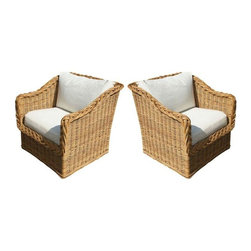 Pre-owned 1950s Rattan Wicker Lounge Chairs - A Pair - Gorgeous thick woven rattan lounge chairs with braided detailing around the arms and back, removable upholstered seats, and a wooden frame, circa the 1950s. Truly stunning and in absolutely wonderful condition, as they've only had two owners in their lifetime! Comfortable and timeless, this pair of loungers would be truly stunning on a patio or porch, but they're also beautiful enough to use indoors, particularly in a space that gets a lot of natural light.     The wicker is in near-perfect condition. The cushion upholstery will need to be replaced, as it's the original ivory upholstery.