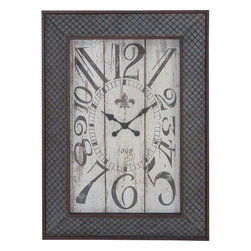 """Benzara - Designed Metal Wood Wall Clock with Mesh Pattern - A wonderful mix of art and elegance, the Metal Wood Wall Clock 34""""W, 48""""H is sure to make a wonderful decor piece. Flaunting a minimalistic design, this wall piece can be easily incorporated in modern and traditional settings. It sports a rectangular frame with a distressed clock dial that is detailed with bold numerals. The frame is carefully crafted from high grade metal and sports a rust finish. This wall clock has a simple, charming design and is perfect for adding a distinct look to formal settings and study rooms. Decorated with a metal mesh pattern, the metal frame of this wall clock imparts a classic, old-world charm to the design aesthetics. Crafted from high grade material, this premium clock will be a perfect decor for your home..; A perfect combination of art and elegance; Flaunts a simple, charming design; Ideal for modern and traditional settings; Decorated with a metal mesh pattern; Weight: 27.6 lbs; Dimensions:34""""W x 1""""D x 48""""H"""