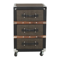 Safavieh - Lewis 3 Drawer Rolling Chest/Black-Brown-Silver - It's a material world. The Lewis Three-Drawer Chest brings a textural, industrial element to the office-or any room in need of a contemporary spin on portable storage. Crafted with linen and faux leather with metal corners and nailhead detailing, it's built to last.
