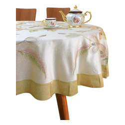 """Banarsi Designs - Hand Painted Floral Round Tablecloth (Beige, 70"""" Round) - Transform your table into a display of art with the Hand Painted Floral Round Tablecloth from our exclusive collection, available in two sizes: 70-Inch Round and 90-Inch Round. This tablecloth has been expertly crafted in India using distinct and creative hand painted techniques. Hand-painted strokes are naturally illustrated throughout the tablecloth using careful precision, embellished with the Banarasi Saree border, adding radiance and beauty to the overall design. Our round tablecloths are perfect for decorating your tables for a special occasion or event. Note: Since this product is hand painted, the design may slightly vary from the picture. Banarsi Designs Exclusive"""