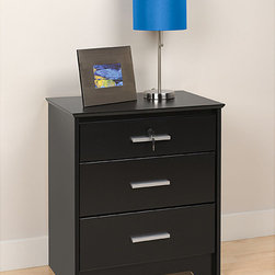 Prepac - Yaletown Black Wide Locking 3-drawer Night Stand - Store your favorite reading material and bedside supplies in this classy three-drawer night stand. Keep your personal items private with a key-lock drawer. This black laminate piece will blend easily with your current bedroom d�cor theme.