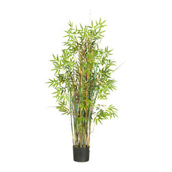 Nearly Natural - 5' Bamboo Grass Silk Plant - The perfect way to express an eccentric and whimsical style, this magical grass plant surrounded by bamboo is sure to elicit a comment from all who view it. A full 5 feet high, this slender wispy plant is decorated with over seven-hundred bright finely detailed leaves. A mix of delicate bamboo stalks encompass this natural looking plant, extending gracefully between lush green foliage. Fits nicely beside an office desk or display it proudly in a home foyer to greet guests.