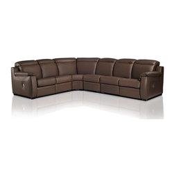 VIG Furniture - Karina Full Espresso Top Grain Italian Leather Sectional Sofa With Recliners - The Karina sectional sofa will add a elegant modern touch to any decor it's placed in. This sectional comes fully upholstered in a espresso top grain Italian leather. High density foam is placed within the cushions for added comfort. The sectional features built-in powered recliners and adjustable headrests for that extra touch of relaxation. This sectional is the epitome of today's top of the line modern furniture.