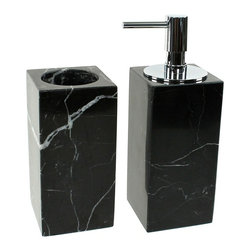 Gedy - Black 2 Piece Marble Bathroom Accessory Set, - Luxurious black marble bathroom accessory set perfect for a modern bathroom. Designed in Italy from the Gedy Posseidon collection. Set includes toothbrush holder and soap dispenser. Available in black finish. Made from marble. From the Gedy Posseidon collection. Designed and built in Italy. Included in set:. Toothbrush holder Gedy AN98-14. Soap dispenser Gedy AN81-14.