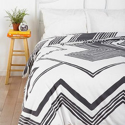 Magical Thinking Geo Empire Duvet Cover, Gray - I love how simple yet funky this cover is. It would be perfect in any room and would look great with any accent pillows — florals, watercolors, you name it.
