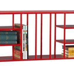 wall bookshelf - well read. Hi-gloss red-red wide-wide partitioned construction cubbies books, periodicals, DVDs, objects, and why not wine. Architectural symmetry bookends open vertical spaces either side. Open ends mean you can row multiple units. Wall-mount or freestand on floor.- MS tubing and sheet metal with a hi-gloss red powdercoat finish- Six rectangular fixed shelves (one large rectangular top shelf, one large rectangular bottom shelf and four small rectangular fixed shelves)- Can be used on the floor or mounted on the wall (hardware included)- Made in India