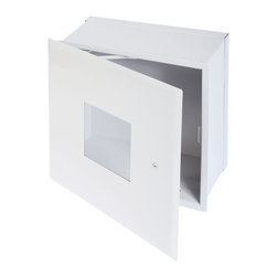 """Best Access Doors - Valve Box with Window and Hidden Flange, High Quality White Powder Coat, 24""""x24"""" - 24"""" x 24""""  Valve Box with Window and Hidden Flange, the  BA-BTV valve box is practical and aesthetically pleasing. It comes in various sizes and depths and can be pre-drilled to accept water pipes, gas pipes and conduits. The BA-BTV model comes with a Plexiglass window. BA-BTV Cabinet / Valve Box Material: 16 gauge cold rolled steel Hinge: Concealed, exclusive hinge design Lock / latch: Screwdriver operated cam latch - Standard Finish: DuPont high quality white powder coat Window: 1/8'' thick Plexiglass (BTV only) Packaging: Individually wrapped, 1 per box Depth: 4"""" (standard)"""