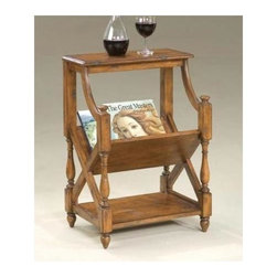 Butler - Book Table with 2 Display Shelves, Cherry Finish - Now you can display your collectible books without cluttering a coffee table. This stand is a custom design that provides a V-shaped central shelf for easy viewing and access. Colonial styling incorporates decorative carved posts with space for other treasures, too