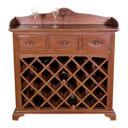 MBW Furniture - Mahogany 3 Drawer Liquor Bar Wine Rack - This product is finely constructed from top grade kiln-dried Solid Mahogany. Artisans use the old world method of tongue and groove and mortise and tenon joinery to create this beautiful and durable piece of furniture. Its superb hand-crafted quality will add a touch of elegance to your home.
