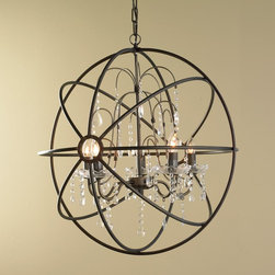 Crystal and Metal Orb Chandelier -