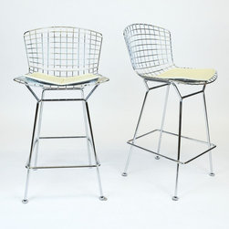 Pair of 'Bertoia' Chrome and Cream Leather Barstools - Dimensions:L 24''  × W 24''  × H 32''