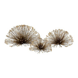 IMAX - Laserette Wire Flower Wall Decor - Set of 3 - Like the flowing stems on a dandelion, this set of three organic inspired wire wall flowers can be hung on the wall or used as tabletop displays.