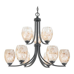 Design Classics Lighting - Chandelier with Mosaic Glass in Matte Black Finish - 586-07 GL1034 - Country / cottage matte black 9-light chandelier. Takes (9) 100-watt incandescent A19 bulb(s). Bulb(s) sold separately. UL listed. Dry location rated.