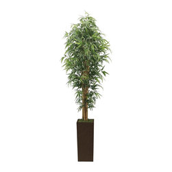 Laura Ashley - 7 Ft. High End Realistic Silk Bamboo Tree - Brown/Bronze Planter - Lifelike bamboo tree in a designer wood planter. No need to shop for a planter separately - comes complete with decorative planter. High-quality artificial plant and real bamboo trunks combine to offer years of beauty with virtually no maintenance. Add life to your decor, place in a corner to soften edges and make a room more welcoming. Bamboo is a natural material that absorbs color in various degrees - this natural product will have slight color variations that make the product more lifelike and enhance the beauty of the item. 32 in. L x 32 in. W x 84 in. H (22.66 lbs.)