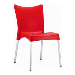 Compamia - Juliette Resin Dining Chair Red - Set of 2 - Juliette dining chair. Made from commercial grade resin with rust free aluminum legs. Great for outdoor spaces, patios and decks. Used by restaurants, cafes and hotels. Color red.