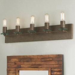 5 Light Iron & Glass Bath Light -