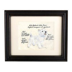 Ballard Designs - West Highland Terrier Dog Print - Our West Highland Terrier Dog Print was created by the dog-loving, husband and wife team of Vivienne and Sponge. The West Highland Terrier is known for being confident, courageous and affectionate. Each West Highland Terrier portrait is hand colored and embellished with notes on the breed's special characteristics. Printed on antiqued parchment, signed by the artists and framed in antique black wood with eggshell mat and glass front. West Highland Terrier Dog Print features:Hand colored & signed . Printed on parchment. Eggshell mat. Antique black frame