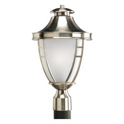 """Progress Lighting - Progress Lighting P5402-09 Fairview 1 Light Outdoor Post Light in Brushed Nickel - One-light post lantern with etched glass in Brushed Nickel finish.Bulb Type: Medium Collection: Fairview Energy Star Compliant: No Finish: Brushed Nickel Height: 18-1 4"""" Lamp Wattage: 100W max Number of Lights: 1 Socket 1 Base: Medium Socket 1 Max Wattage: 100 Style: Traditional Suggested Room Fit: Outdoor Type: Outdoor Post Light Width: 10-1 2""""{General Acorn shape Etched glass enclosure Tapered round top, and twin bar trim Brushed nickel unit is solid brass, and the black unit is aluminum construction Plated brushed nickel (-09) or black painted (-31) finish {Mounting Post top mount Fits standard 3""""Dia. post (order separately) {Electrical Ceramic medium base socket Pre-wired {Labeling UL-CUL wet location listed"""