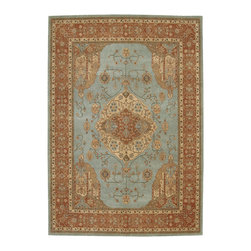 """Nourison - Nourison Heritage Hall Aqua Traditional Wool 2'6"""" x 8' Runner Rug by RugLots - Reminiscent of traditional 17th Century Persian designs, the Heritage Hall Collection by Nourison has an unmistakable Old World feel. Woven in a delicate color palette to attain an authentic impression, premium wool """"hard twist"""" yarns are carefully dyed to achieve a vintage look. Carefully constructed for durability, these beautiful rugs are made to last and will add beauty and elegance to your home for years to come. 100% New Zealand wool."""