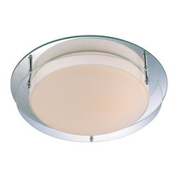 """Lite Source - Lite Source LS-5588 10"""" Two Light Ambient Lighting Flush-Mount Ceiling Fixture w - Lite Source LS-5588 Contemporary / Modern 10"""" Two Light Ambient Lighting Flush-Mount Ceiling Fixture with Mirror and Glass Shade from the Belmont CollectionFeatures:"""