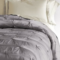 Eileen Fisher - Eileen Fisher Seasonless Silk Comforter - Double/Queen - Oyster Gray - This hand-tufted Eileen Fisher comforter is pure silk, from its luminous charmeuse exterior to its light-as-air fill. Warm in winter and cool in summer, it provides temperature-regulating comfort. Eileen Fisher Home exclusively by Garnet Hill.