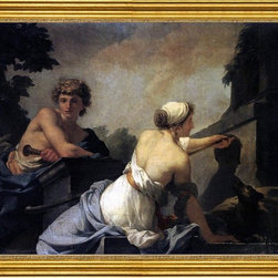 """Jean-Baptiste Regnault-18""""x24"""" Framed Canvas - 18"""" x 24"""" Jean-Baptiste Regnault The Origin of Painting: Dibutades Tracing the Portrait of a Shepherd framed premium canvas print reproduced to meet museum quality standards. Our museum quality canvas prints are produced using high-precision print technology for a more accurate reproduction printed on high quality canvas with fade-resistant, archival inks. Our progressive business model allows us to offer works of art to you at the best wholesale pricing, significantly less than art gallery prices, affordable to all. This artwork is hand stretched onto wooden stretcher bars, then mounted into our 3"""" wide gold finish frame with black panel by one of our expert framers. Our framed canvas print comes with hardware, ready to hang on your wall.  We present a comprehensive collection of exceptional canvas art reproductions by Jean-Baptiste Regnault."""