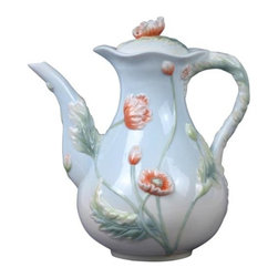 US - 8 Inch Pale Blue Porcelain Poppy Flower Tea Pot with Poppy Bloom Lid - This gorgeous 8 inch pale blue porcelain poppy flower tea pot with poppy bloom lid has the finest details and highest quality you will find anywhere! 8 inch pale blue porcelain poppy flower tea pot with poppy bloom lid is truly remarkable.