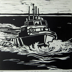 Sandy Hook Artwork - A lively mixed-media piece made up entirely of linoleum-cut pieces of black and white paper by artist Amy DiGi. Named for the Sandy Hook Pilots Fleet, it depicts a jaunty boat slicing through paper waves. A limited addition of only 150 prints, it comes unframed, so let you imagination run wild with how you will display it in your home.
