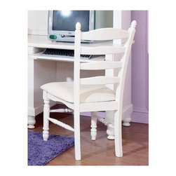 Homelegance - Pottery Desk Chair in White - Armless and upholstered. Ladder back. Sand thru finish. 18 in. W x 22 in. D x 41 in. H