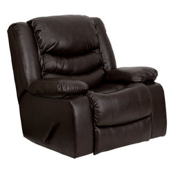Flash Furniture - Plush Brown Leather Rocker Recliner - This motion recliner will provide you comfort with the added bonus of the rocking feature. The rocker recliner can not only be used in the living room/ but makes for a great nursery chair. The gentle back and forth rocking is soothing to both babies and adults. The thick cushions add to the comfort level to provide you comfort while you relax. The durable leather upholstery allows for easy cleaning and regular care.