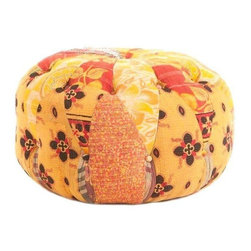 """Vintage Yellow and Orange Kantha Poof - These yellow and orange poofs have been patched together with vintage Kantha fabric. Super hot!     The seller says: """"With my vast collection of vintage Kanthas, I started making custom poofs, pillows, and upholstering chairs and ottomans. Obsessed much? Maybe just a little. The coolest thing is that you will not ever see two the same....I used two or three kantha blankets for each poof....a variety of colors + patterns = perfection full of character. The perfect pop of color for any room."""""""