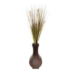 """D&W Silks - Artificial Tall Onion Grass in Tall Wooden Vase, 42-inch - It's amazing how much adding a plant can change the look of a room or decor, but it can be difficult if your space is not conducive to growing plants, or if you weren't exactly born with a """"green thumb."""" Invite the beauty of nature into your home without all the upkeep with this maintenance-free, allergy-free arrangement of artificial tall onion grass in a tall wooden vase. This is not a living plant."""