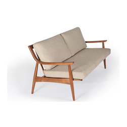 """Mid-Century Marvelous - Inspired by the masterful forms of Wegner, Eames, and Noguchi, Gingko's hand-crafted solid walnut pieces instantly refresh and update the home while echoing what we love about mid-century modern design.   Adam Sofa walnut frame is available in Medium Stain (shown), Natural Walnut, or Dark Walnut.  Choice of fabrics for upholstered cushions.  Adam Sofa is made in 60"""" and 70"""" lengths."""