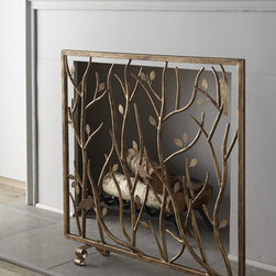 Horchow - Bird & Branch Fireplace Screen - Exclusively ours. Decorative fireplace screen brings outdoor ambiance indoors with its open design of tree branches complete with a scattering of leaves and perching birds. Handcrafted of iron and tole metal. Hand-painted light burnished-gold finish. For decorative use only; not backed with mes
